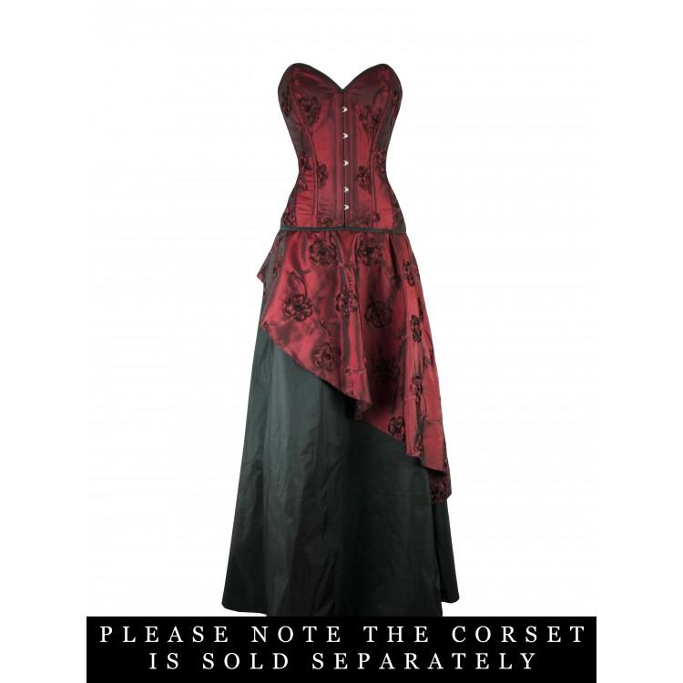 Siren - Wine Embroidered Taffeta and Black Taffeta under skirt